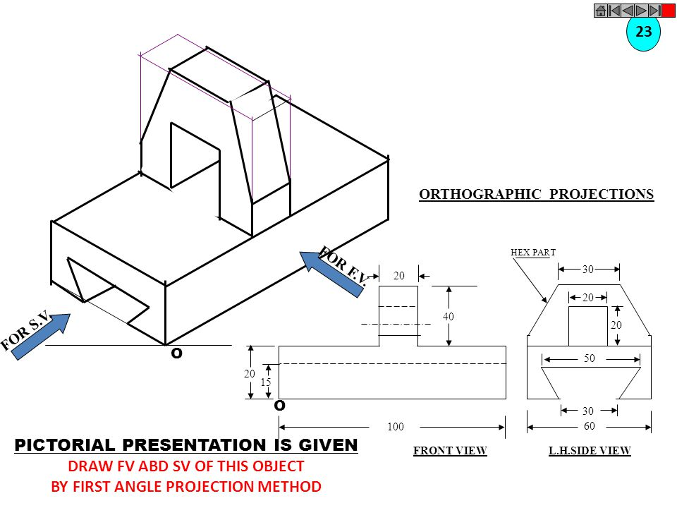 DRAW FV ABD SV OF THIS OBJECT BY FIRST ANGLE PROJECTION METHOD