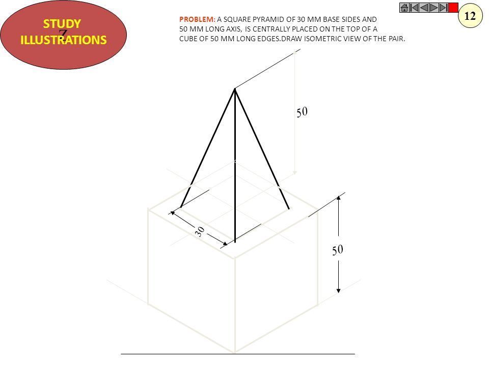 Z STUDY. ILLUSTRATIONS. 12. PROBLEM: A SQUARE PYRAMID OF 30 MM BASE SIDES AND. 50 MM LONG AXIS, IS CENTRALLY PLACED ON THE TOP OF A.