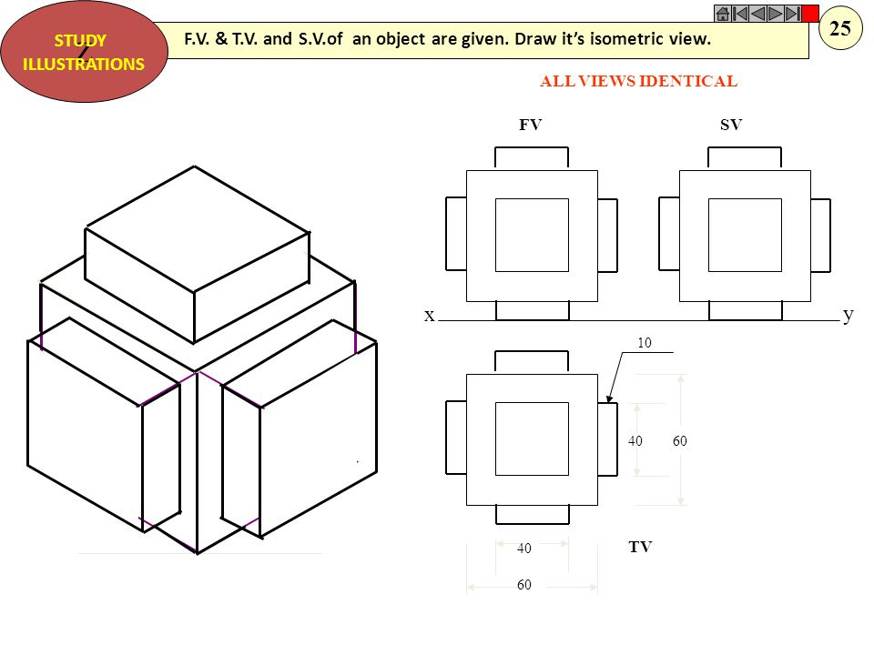 Z STUDY. ILLUSTRATIONS. 25. F.V. & T.V. and S.V.of an object are given. Draw it's isometric view.