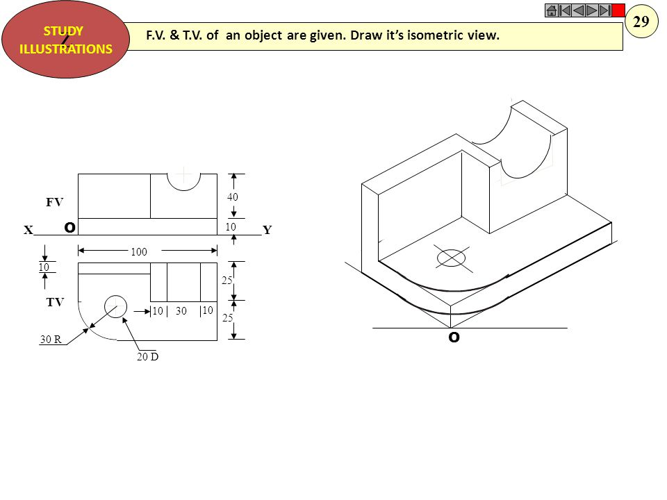 Z STUDY. ILLUSTRATIONS. 29. F.V. & T.V. of an object are given. Draw it's isometric view. FV. TV.