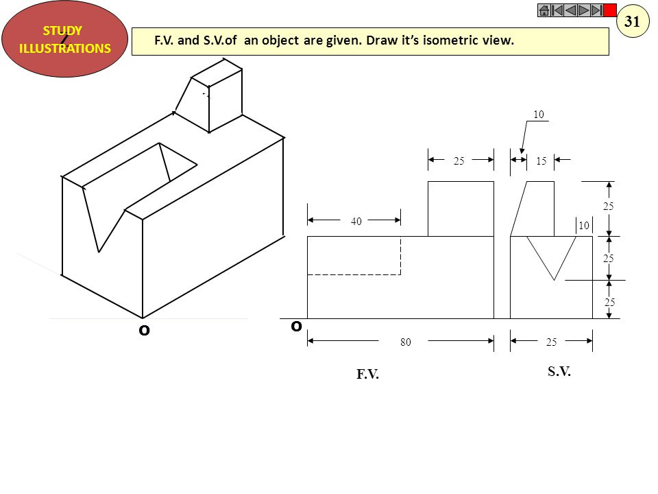 Z STUDY. ILLUSTRATIONS. 31. F.V. and S.V.of an object are given. Draw it's isometric view. 10.