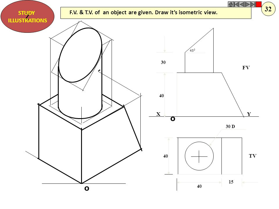 Z STUDY. ILLUSTRATIONS. 32. F.V. & T.V. of an object are given. Draw it's isometric view. 450.