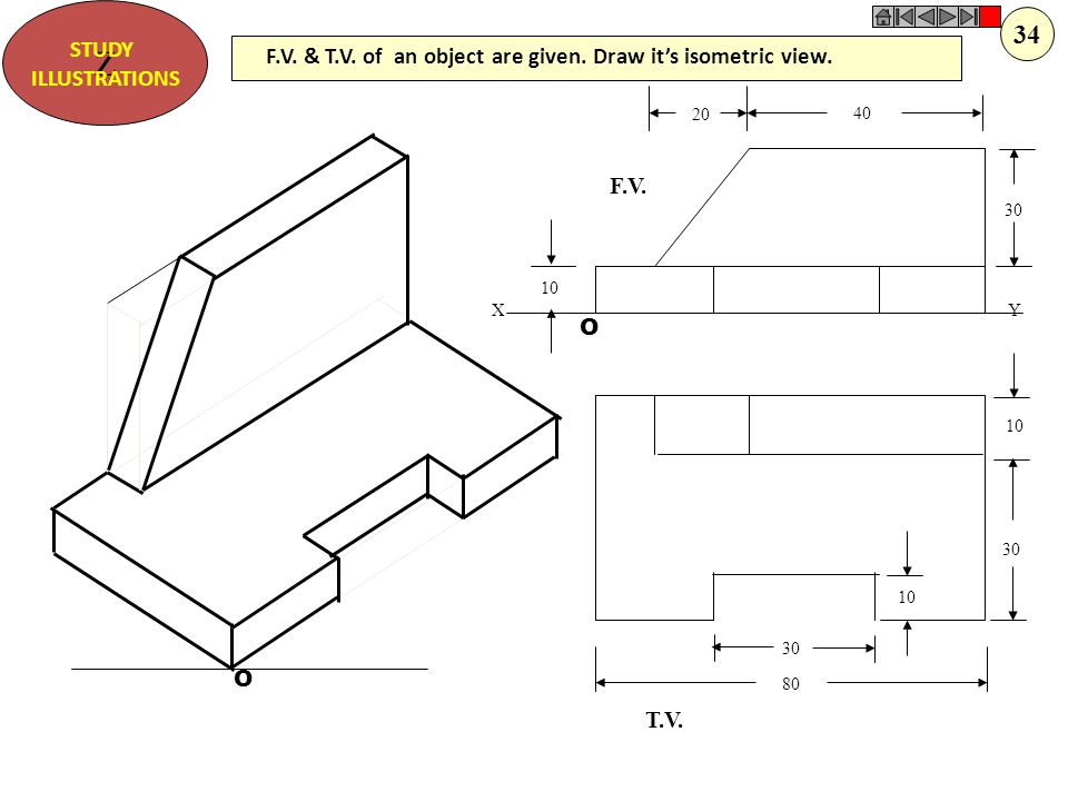 Z STUDY. ILLUSTRATIONS. 34. F.V. & T.V. of an object are given. Draw it's isometric view. O. 10.