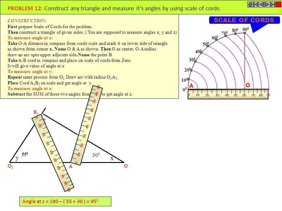 PROBLEM 12: Construct any triangle and measure it's angles by using scale of cords.