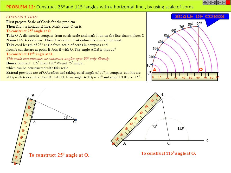 PROBLEM 12: Construct 250 and 1150 angles with a horizontal line , by using scale of cords.