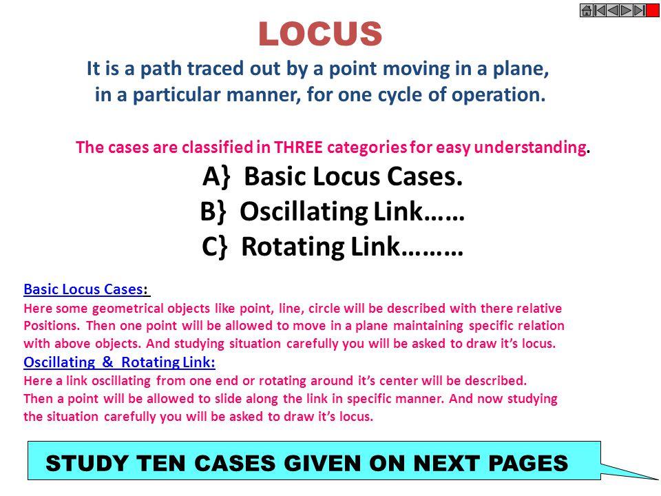 LOCUS A} Basic Locus Cases. B} Oscillating Link…… C} Rotating Link………