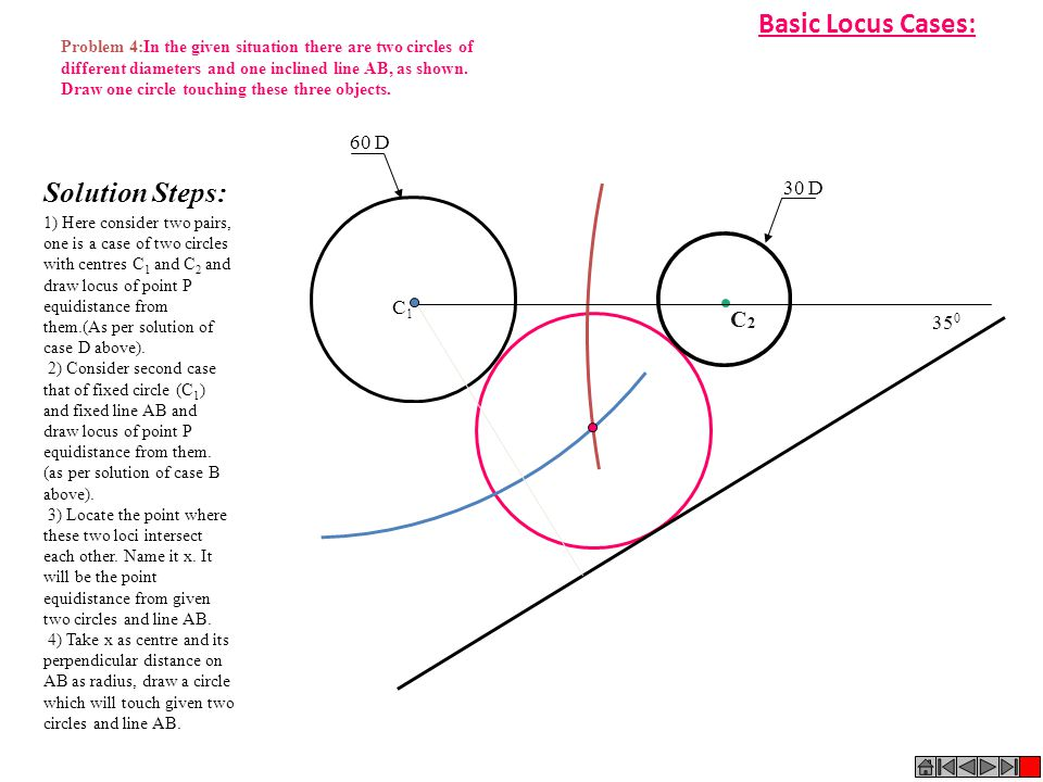 Basic Locus Cases: Problem 4:In the given situation there are two circles of. different diameters and one inclined line AB, as shown.