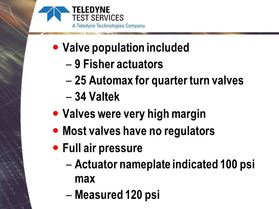 Valve population included