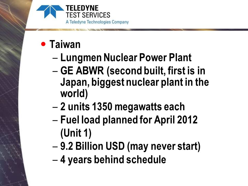 Taiwan Lungmen Nuclear Power Plant. GE ABWR (second built, first is in Japan, biggest nuclear plant in the world)