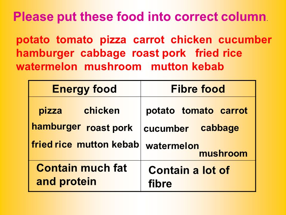 Please put these food into correct column.