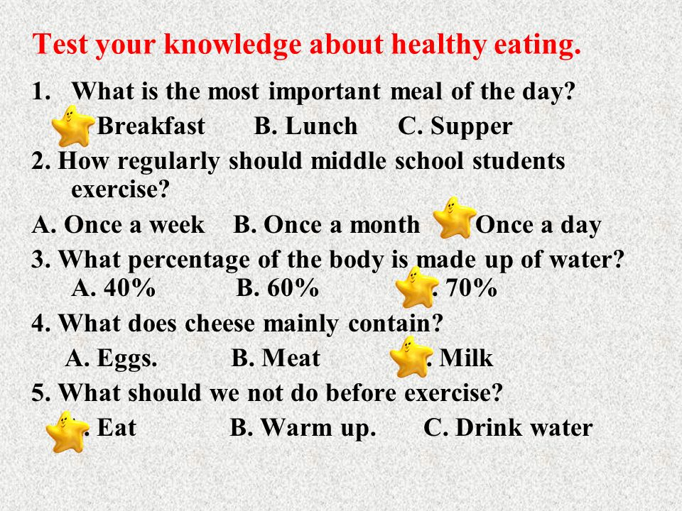 Test your knowledge about healthy eating.