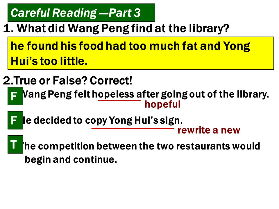 Careful Reading ---Part 3 1. What did Wang Peng find at the library