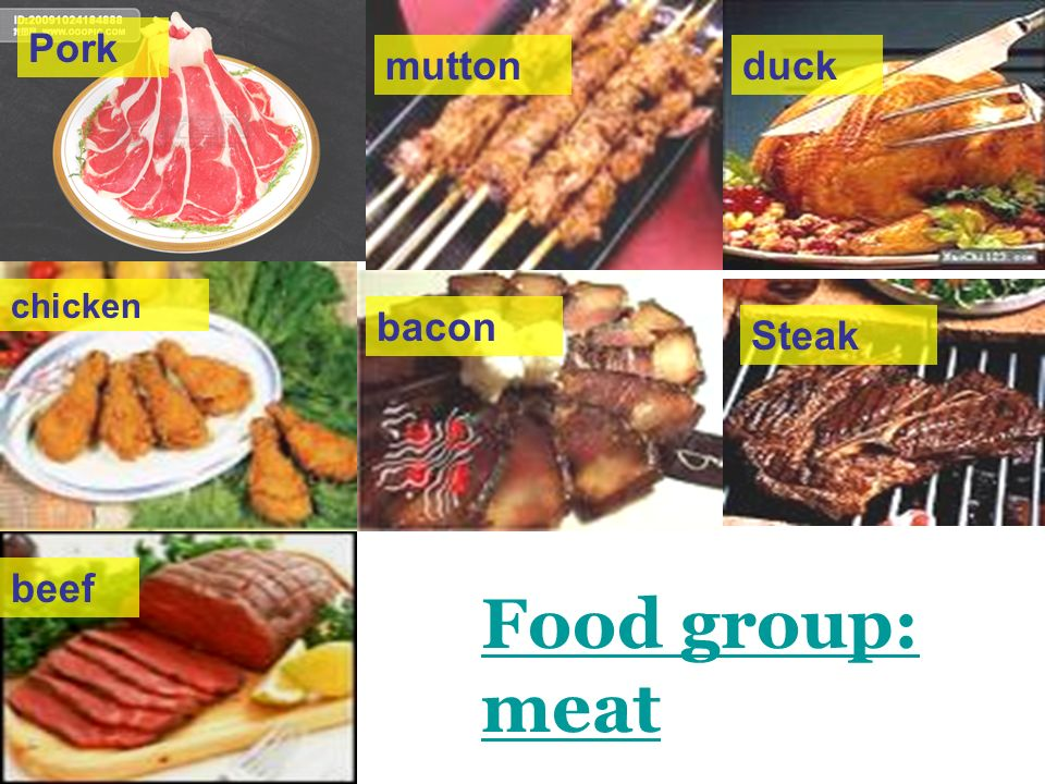 Pork mutton duck chicken bacon Steak beef Food group: meat