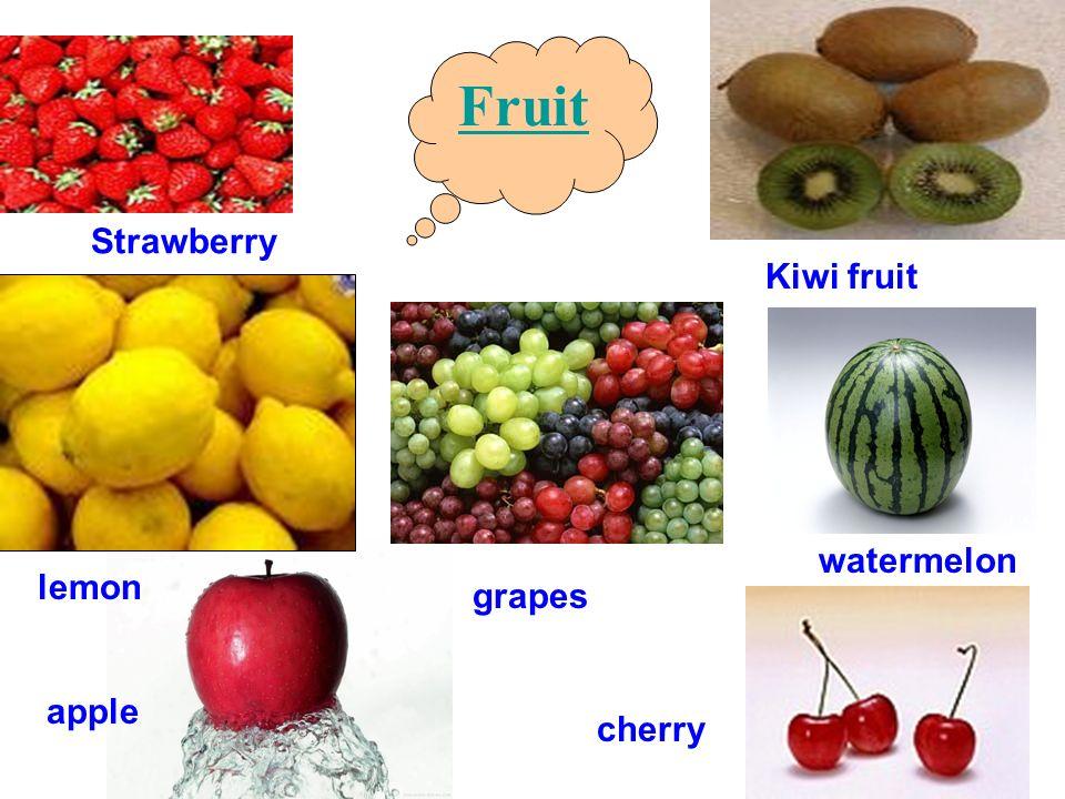 Fruit Strawberry Kiwi fruit watermelon lemon grapes apple cherry