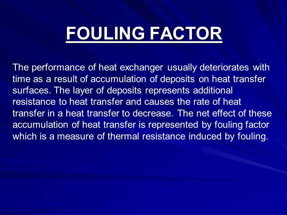 FOULING FACTOR