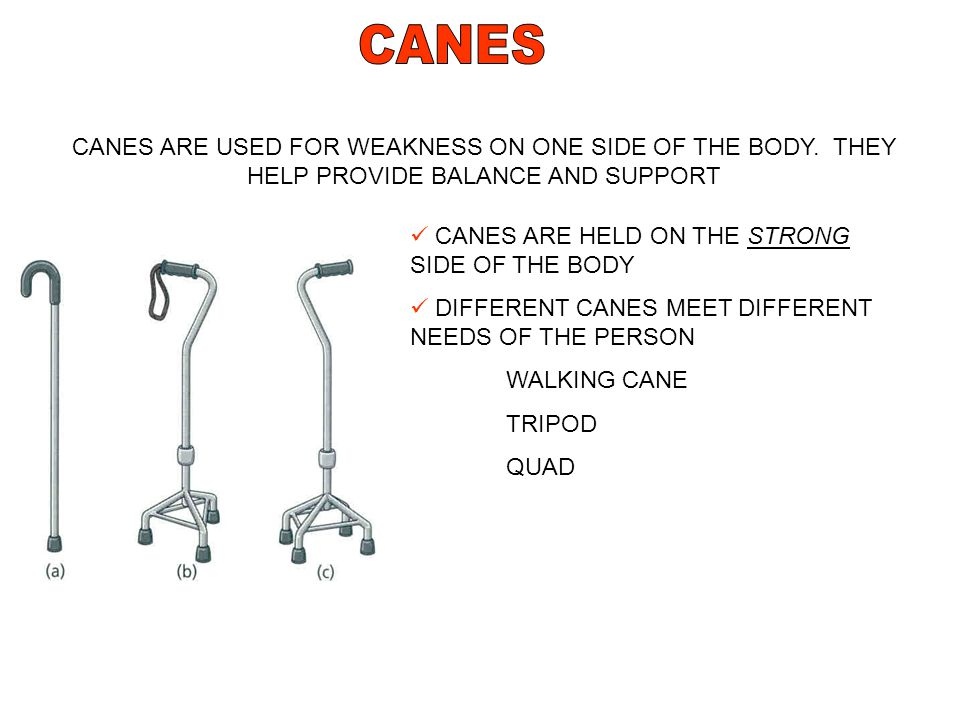 CANES CANES ARE USED FOR WEAKNESS ON ONE SIDE OF THE BODY. THEY HELP PROVIDE BALANCE AND SUPPORT. CANES ARE HELD ON THE STRONG SIDE OF THE BODY.