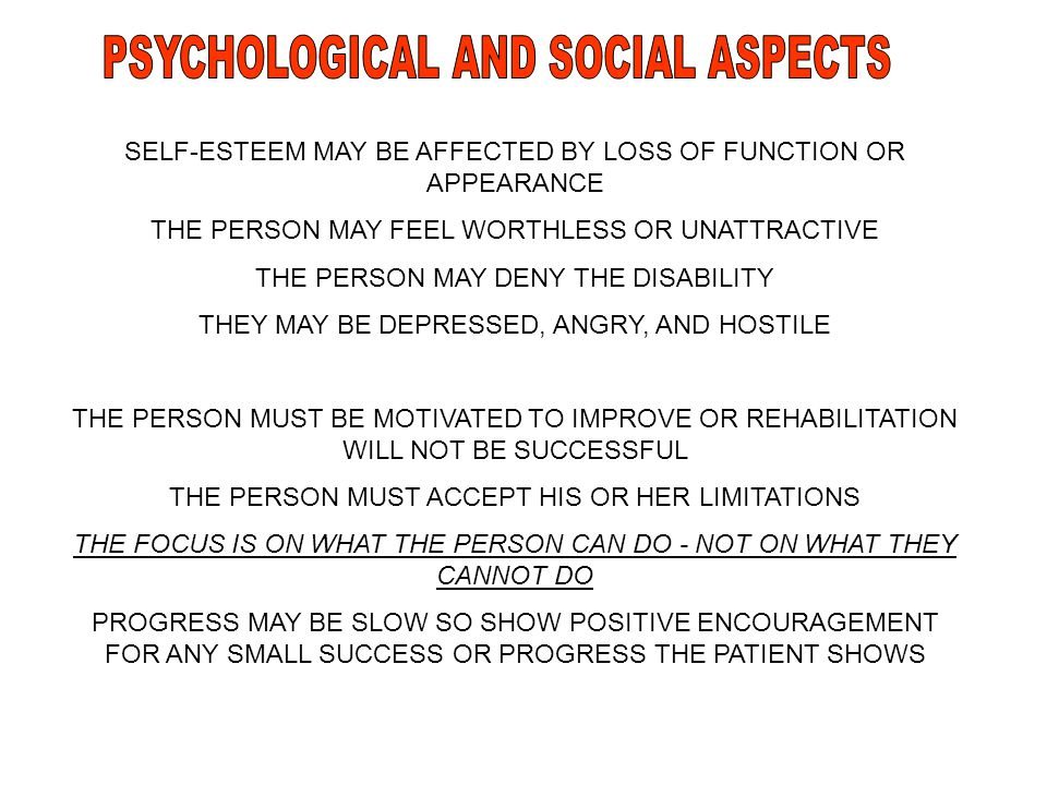 PSYCHOLOGICAL AND SOCIAL ASPECTS