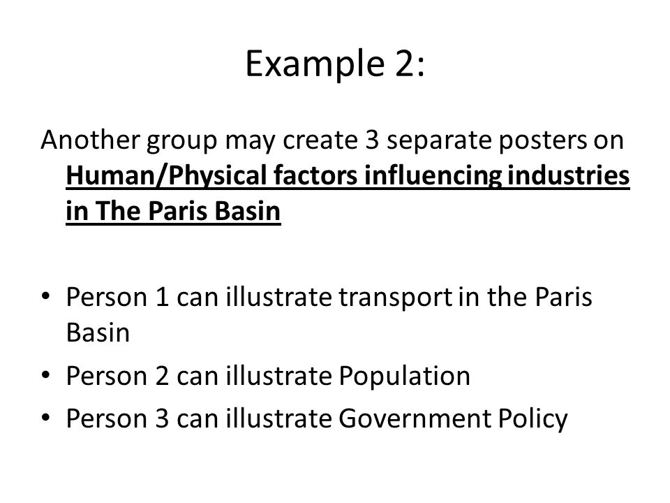 Example 2: Another group may create 3 separate posters on Human/Physical factors influencing industries in The Paris Basin.