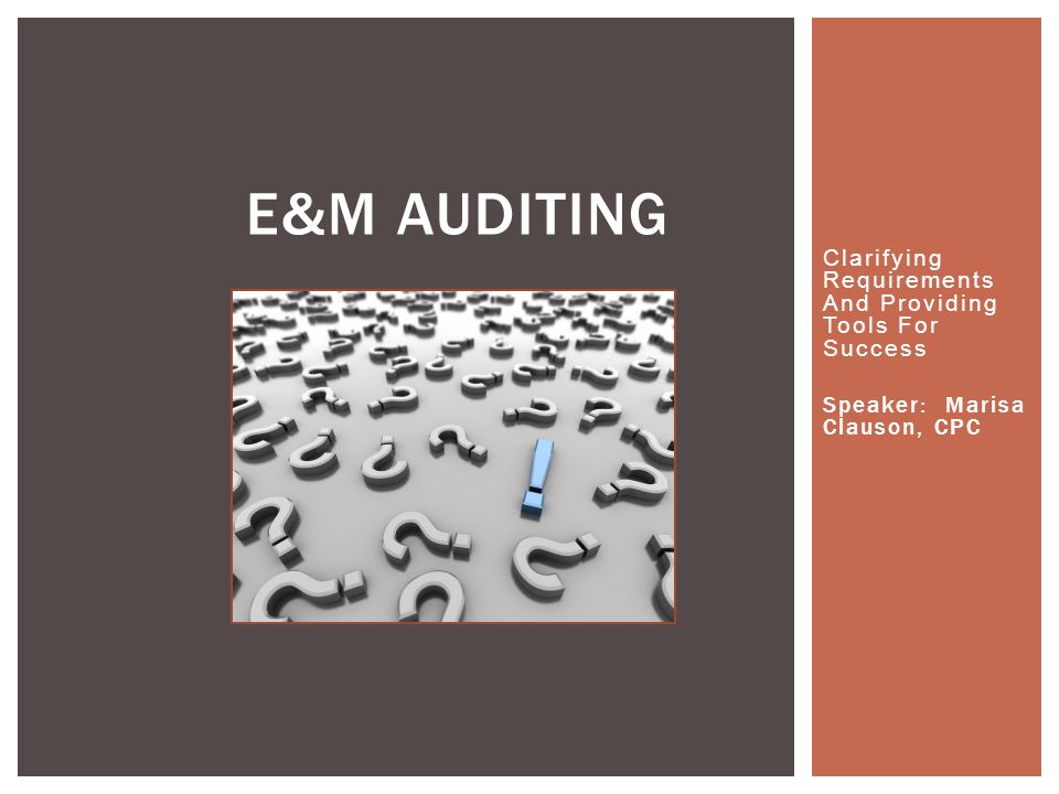 E&M Auditing Clarifying Requirements And Providing Tools For Success