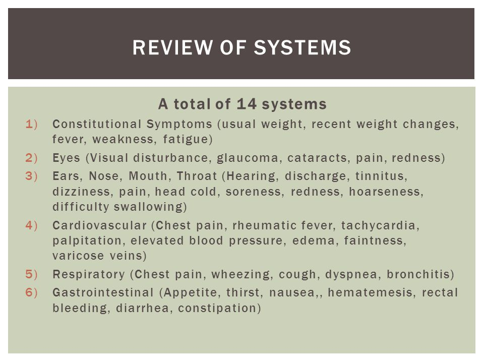 Review of Systems A total of 14 systems