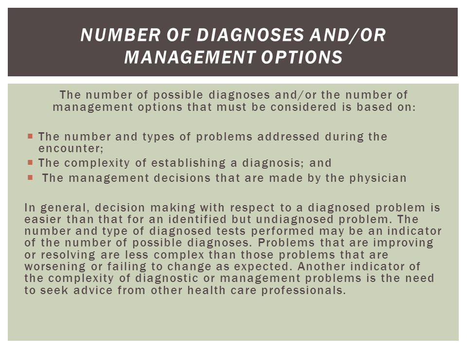 Number of Diagnoses and/or Management Options