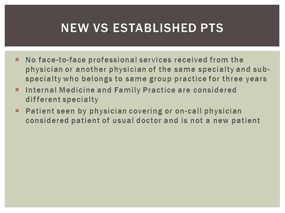 New vs Established pts