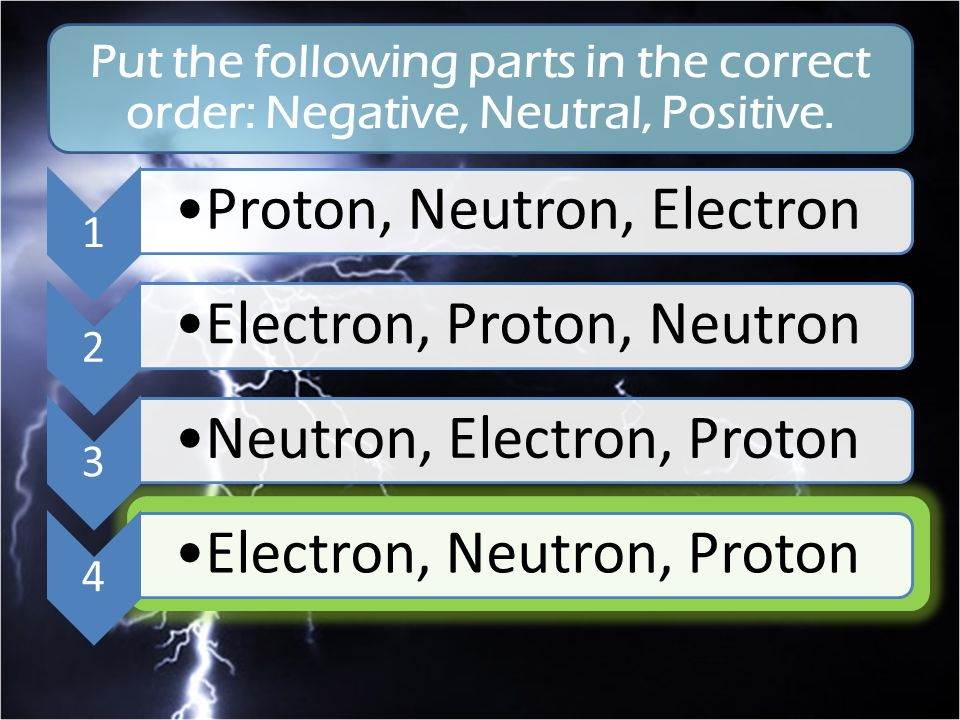 Put the following parts in the correct order: Negative, Neutral, Positive.