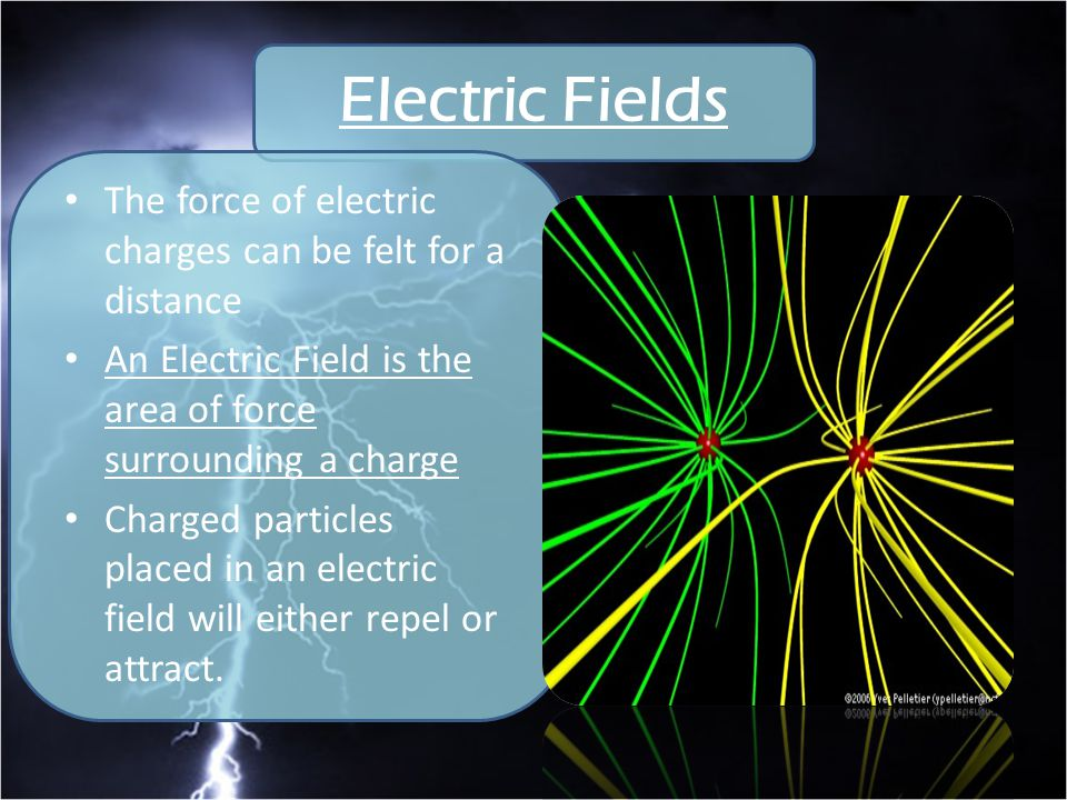 Electric Fields The force of electric charges can be felt for a distance. An Electric Field is the area of force surrounding a charge.