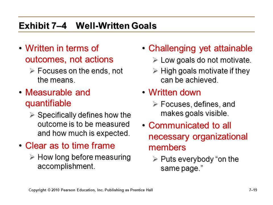 Exhibit 7–4 Well-Written Goals