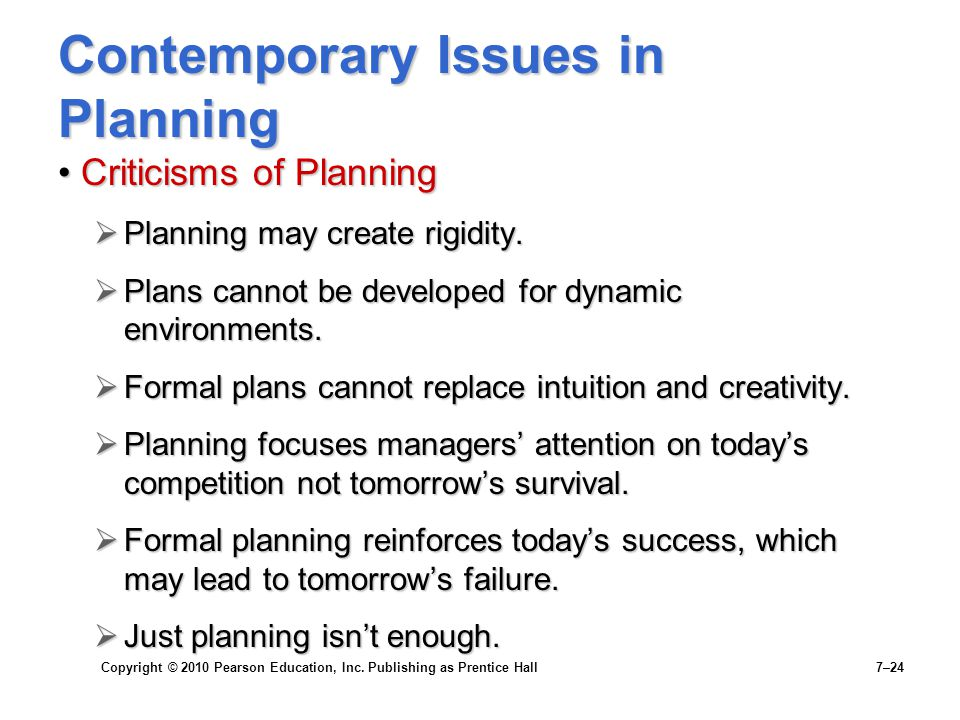 Contemporary Issues in Planning