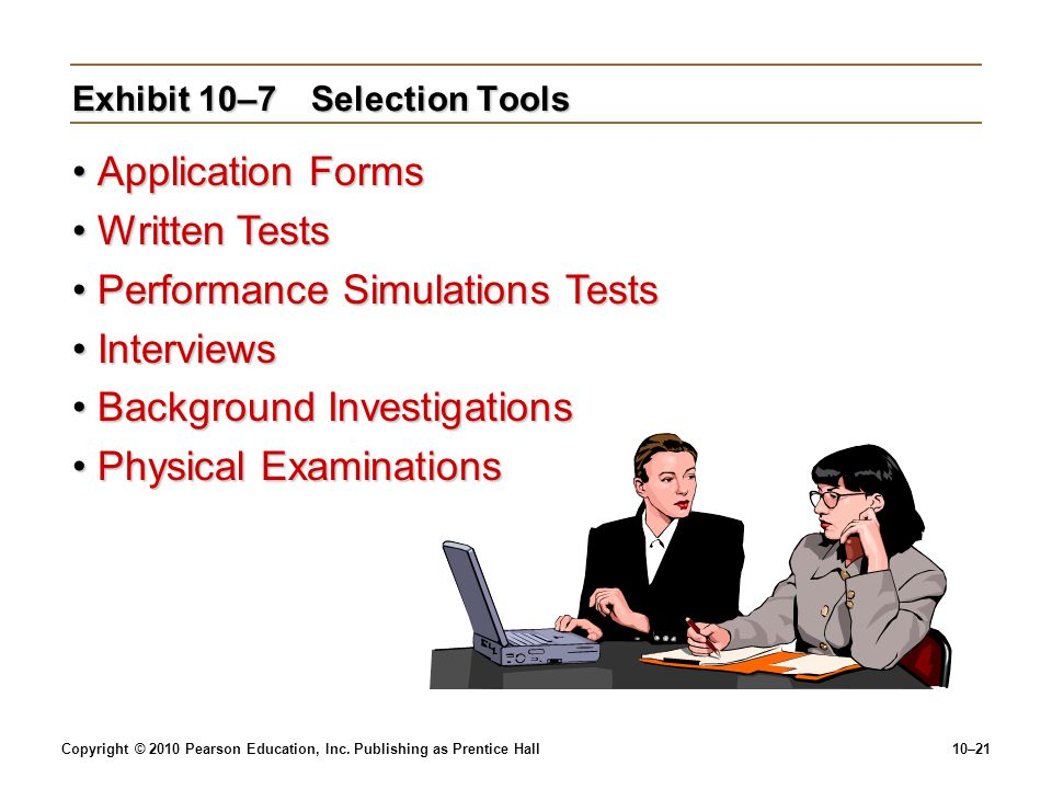 Exhibit 10–7 Selection Tools