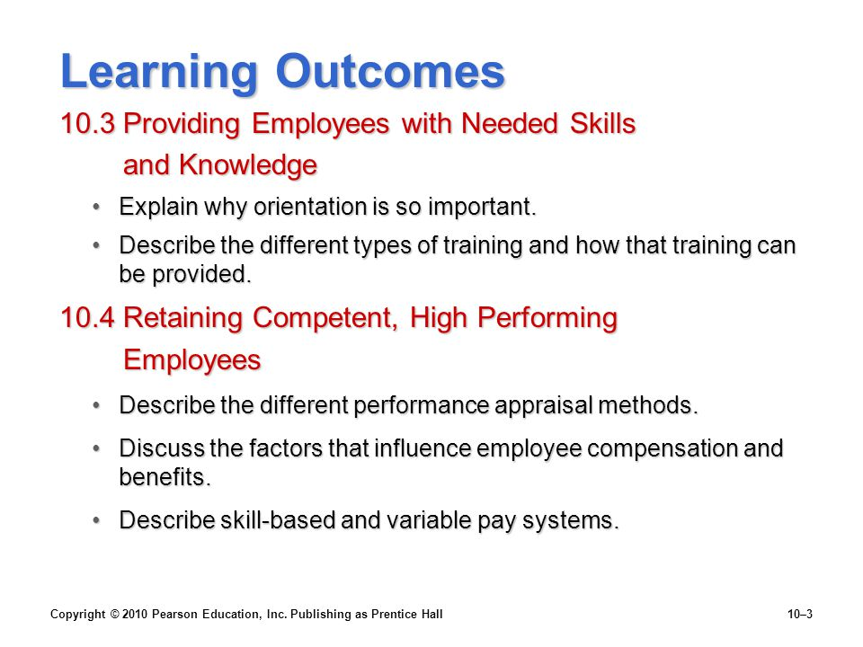 Learning Outcomes 10.3 Providing Employees with Needed Skills