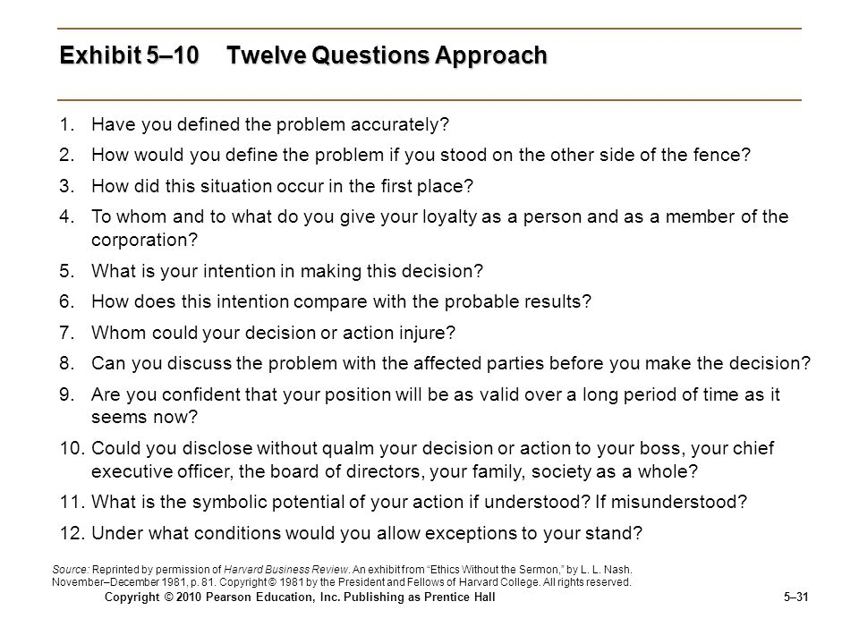 Exhibit 5–10 Twelve Questions Approach