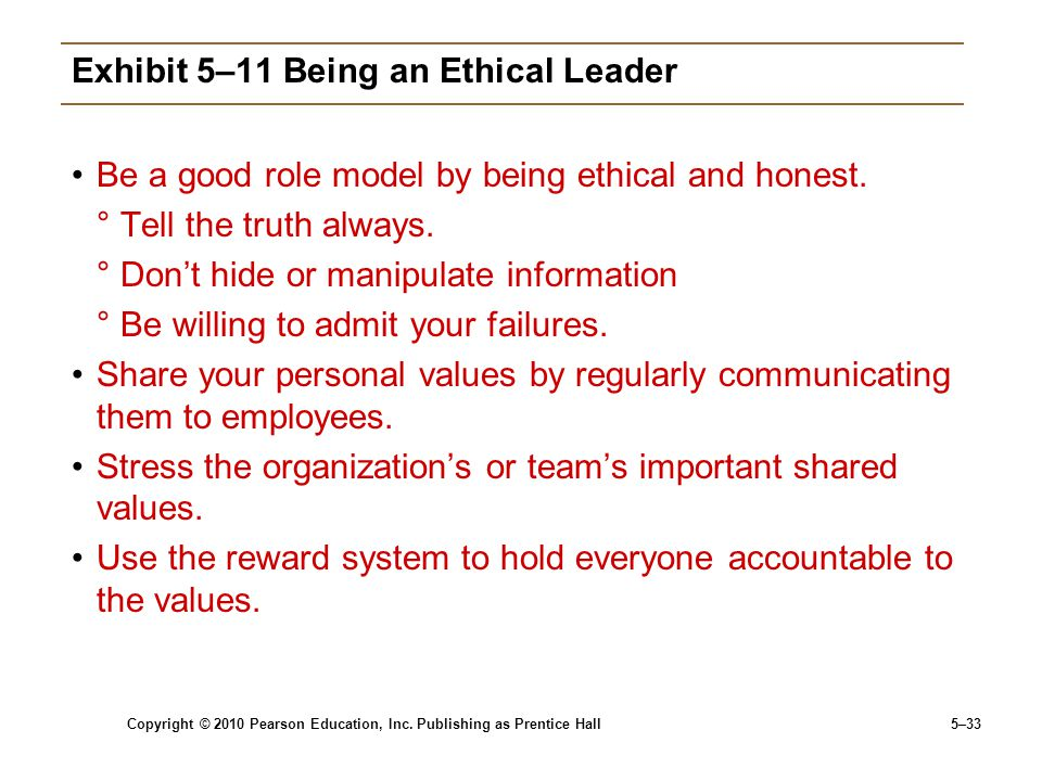 Exhibit 5–11 Being an Ethical Leader