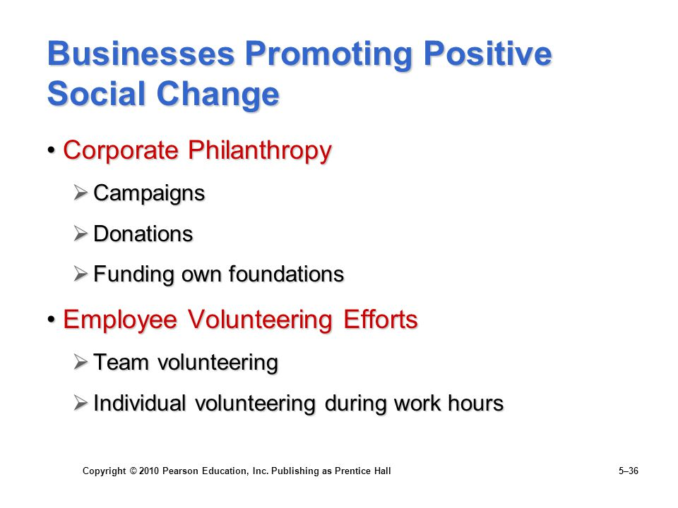 Businesses Promoting Positive Social Change