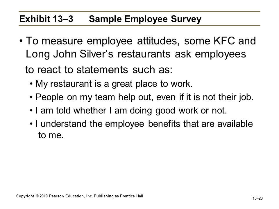 Exhibit 13–3 Sample Employee Survey