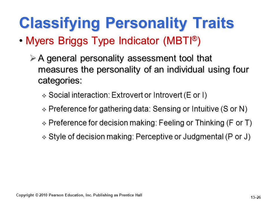 Classifying Personality Traits