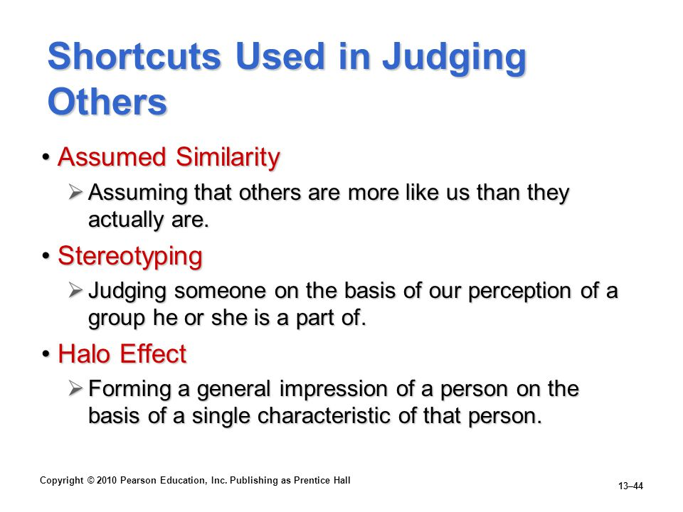 Shortcuts Used in Judging Others