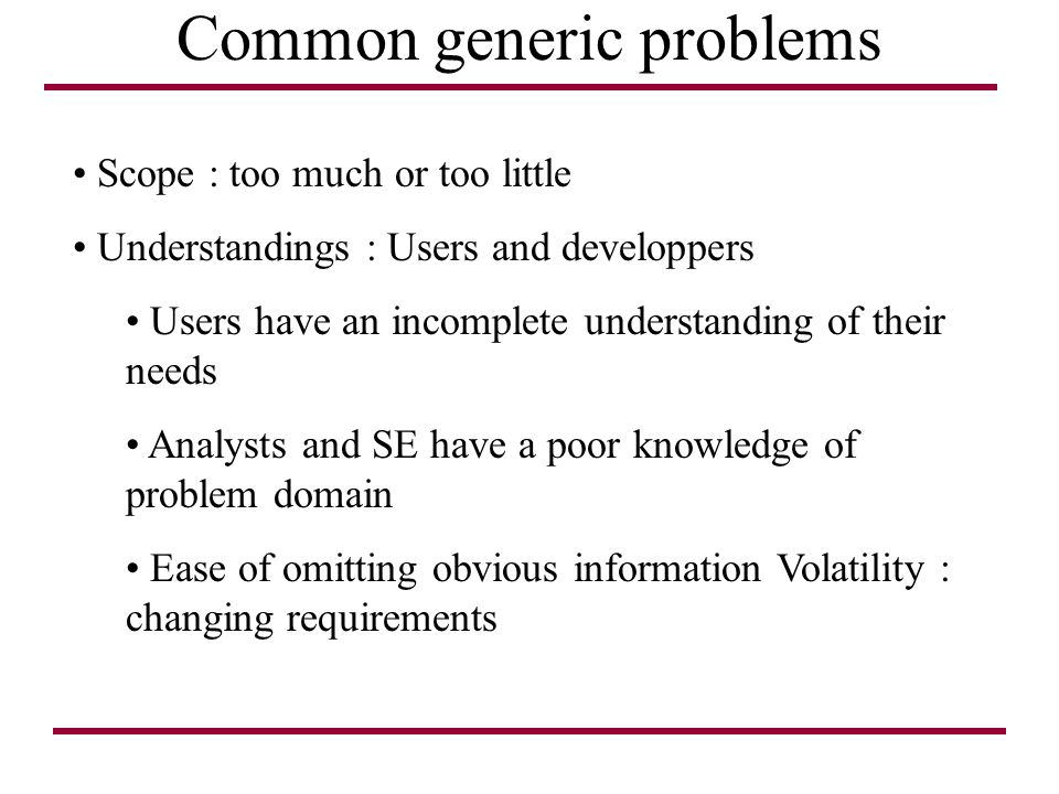 Common generic problems