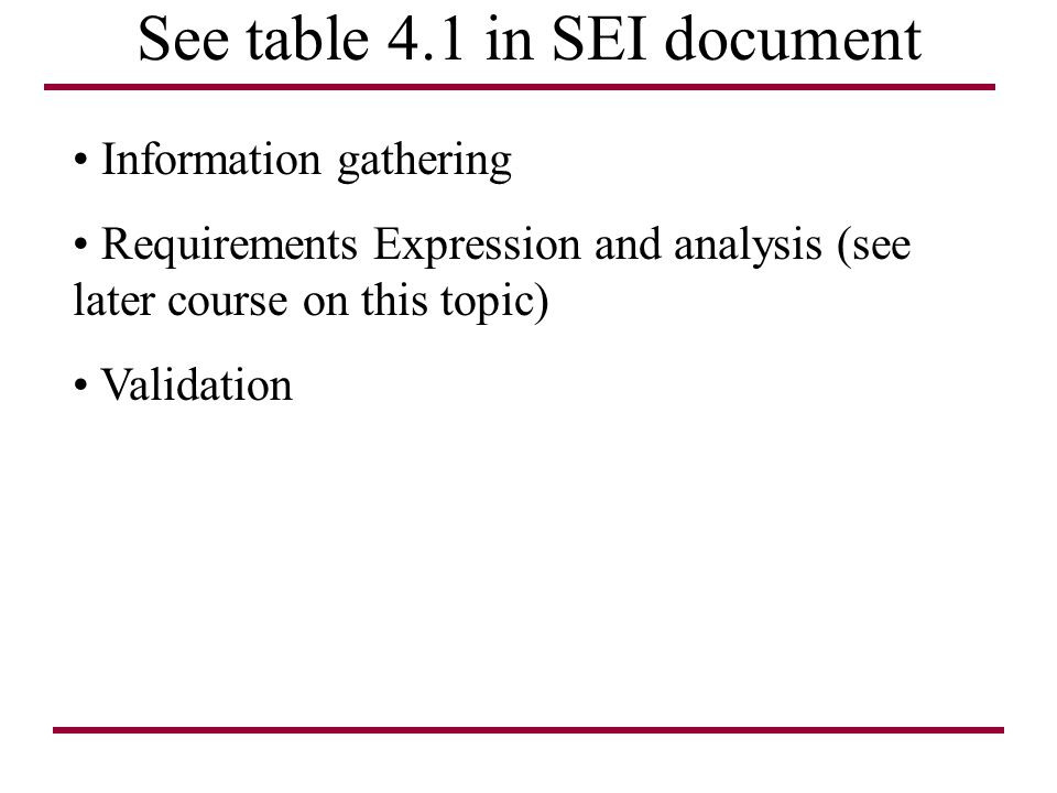 See table 4.1 in SEI document