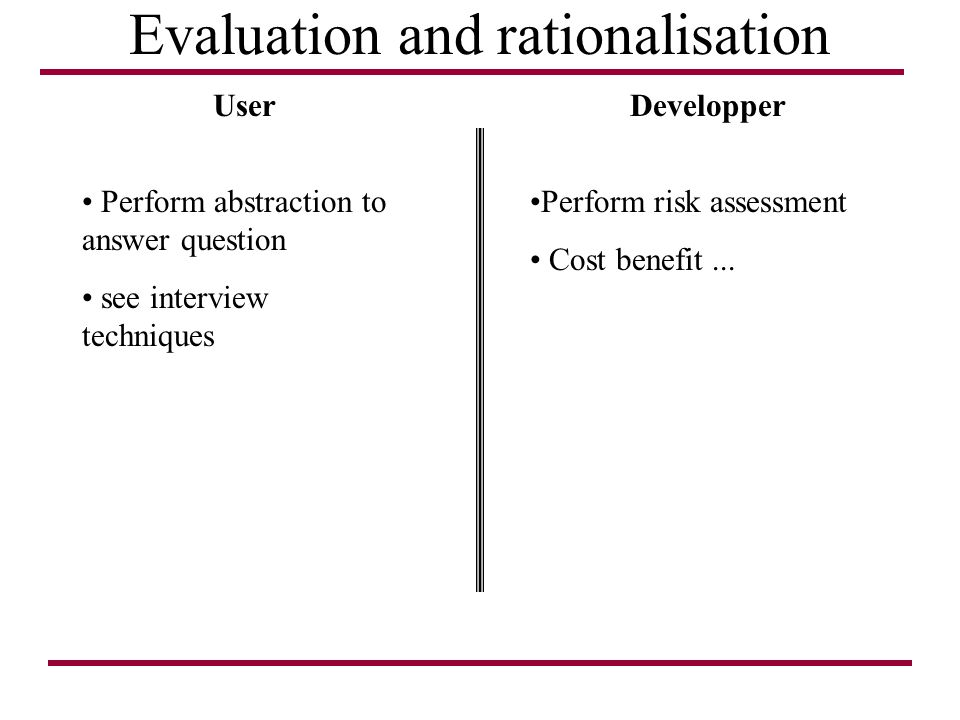 Evaluation and rationalisation