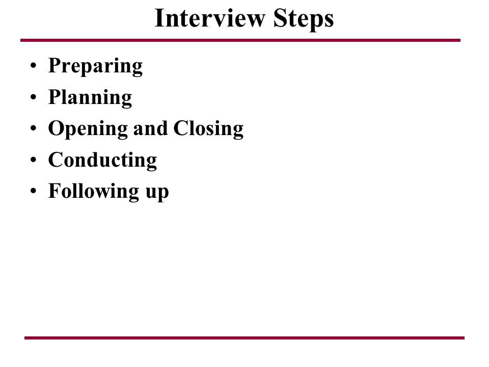 Interview Steps Preparing Planning Opening and Closing Conducting
