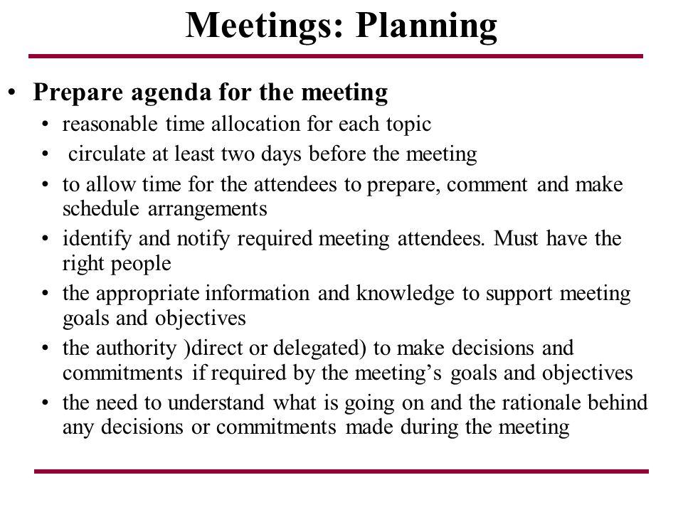 Meetings: Planning Prepare agenda for the meeting