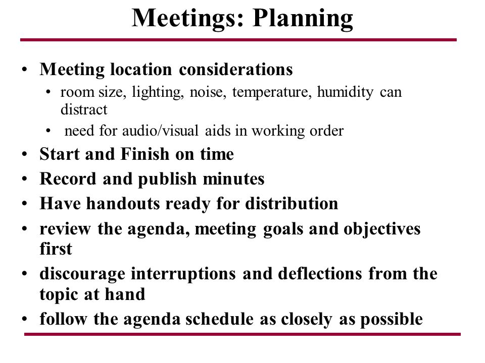 Meetings: Planning Meeting location considerations