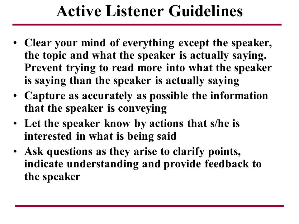 Active Listener Guidelines