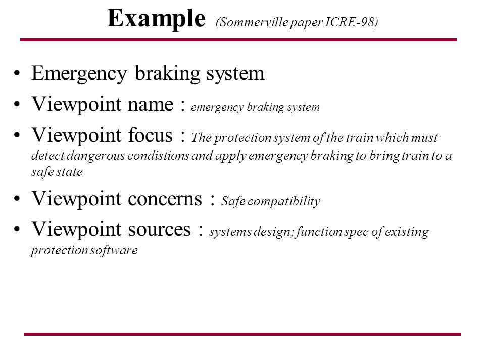 Example (Sommerville paper ICRE-98)