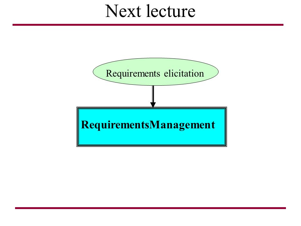 Next lecture Requirements elicitation RequirementsManagement