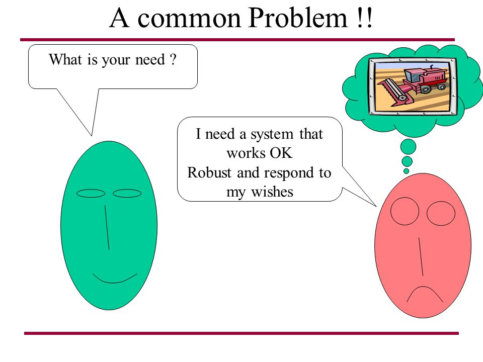 A common Problem !! What is your need I need a system that works OK