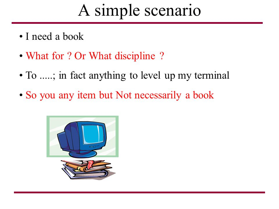 A simple scenario I need a book What for Or What discipline