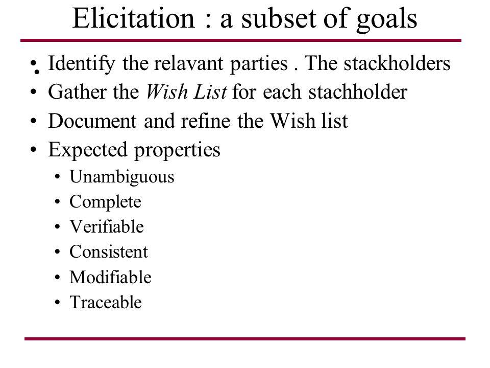 Elicitation : a subset of goals